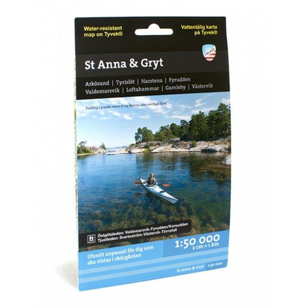 Kort over St Anna & Gryts skærgårde